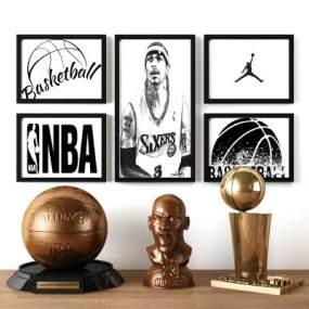 现代NBA篮球乔丹冠军装饰摆设组合 3D模型【ID:241292585】