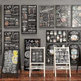 现代实木黑板菜牌餐牌广告牌3D模型【ID:131983264】