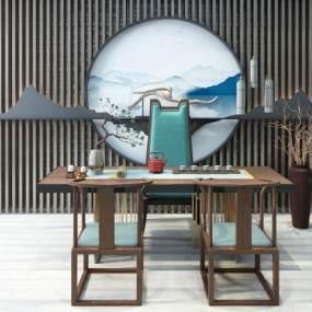 新中式茶室3D模型【ID:635426116】