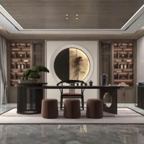 新中式茶館茶室3D模型【ID:646685174】
