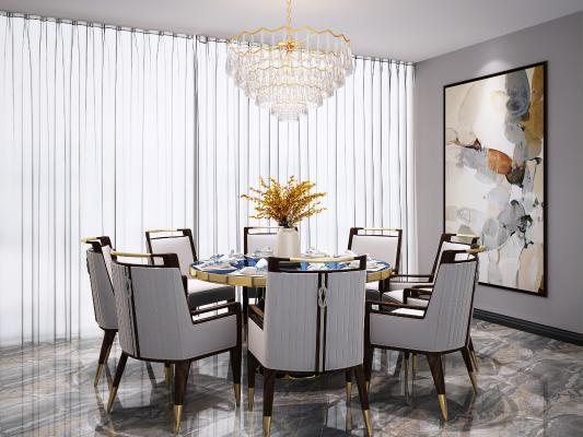 新中式圆形餐桌椅吊灯组合