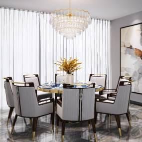 新中式△�A形餐桌椅吊�艚M合3D模型【ID:843073844】