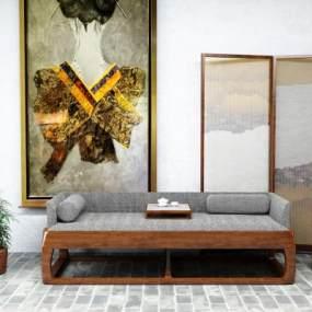 新中式沙发组合 3D模型【ID:642451797】