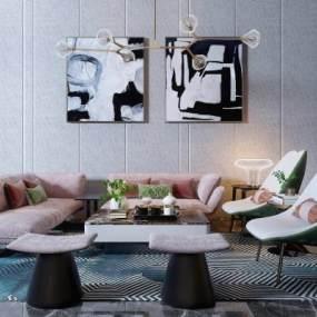 现代组合沙发3D模型【ID:630450721】