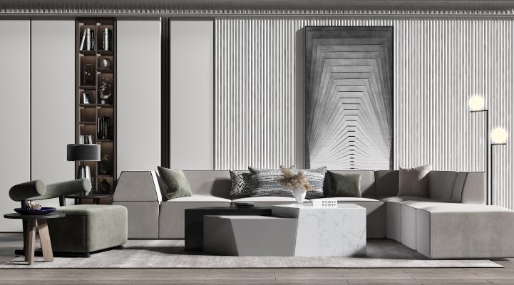 现代沙发 椅子 茶几 落地灯