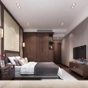 新中式卧室3D模型【ID:534837048】