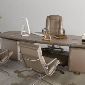 现代轻奢办公桌大班台3D模型【ID:947764183】