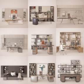 现代办公桌椅3D模型【ID:948144074】