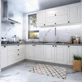 北欧风格厨房橱柜 3D模型【ID:540976331】
