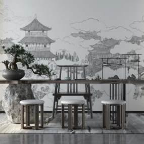 新中式茶桌3D模型【ID:844408962】