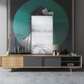 现代实木电视组合柜3D模型【ID:931629968】