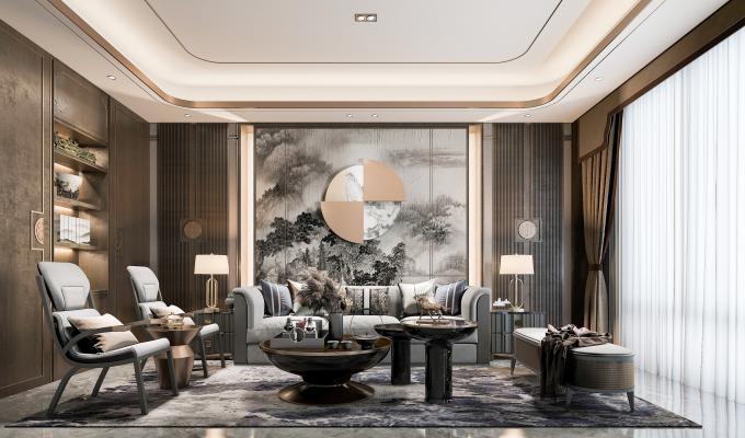 新中式客廳3D模型【ID:548810016】