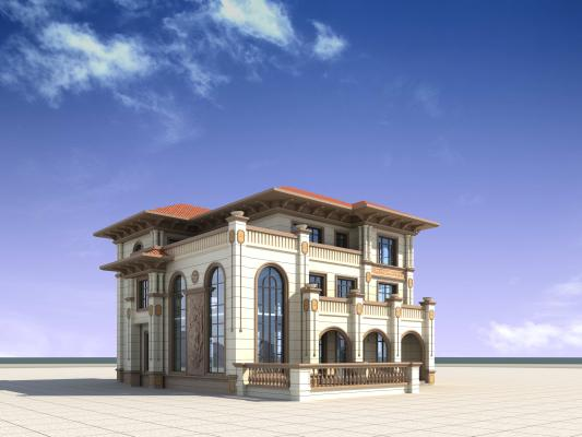 独栋别墅3D模型【ID:140830370】