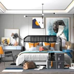 现代轻奢卧室3D模型【ID:554053236】