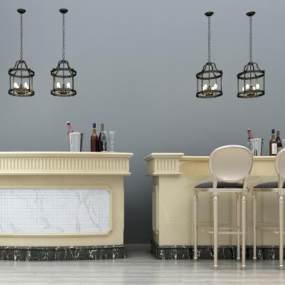 欧式吧台吧椅吊灯组合3D模型【ID:930737214】