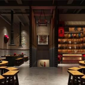 中式主题餐厅3D模型【ID:631209270】