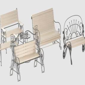 现代户外椅子3D模型【ID:735427539】