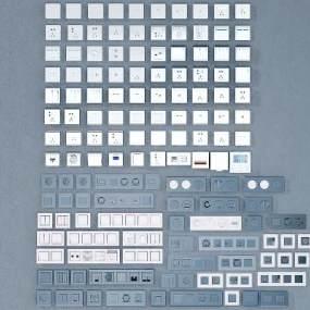 现代开关插座面板3D模型【ID:333167371】