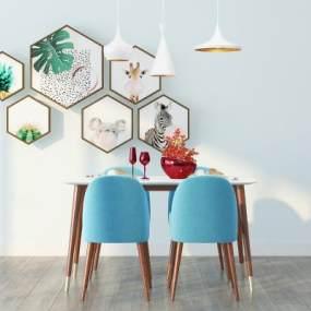 北欧餐桌椅3D模型【ID:835804877】