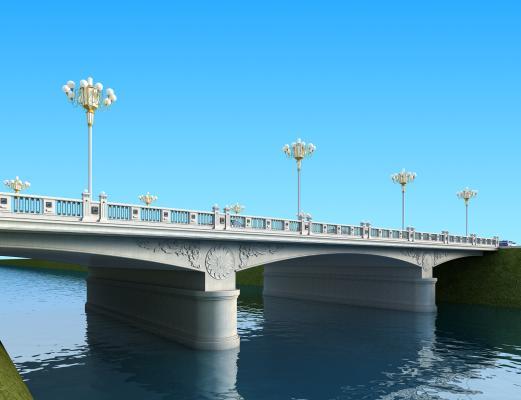 现代石拱大桥3D模型【ID:140797937】