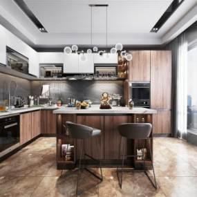 现代风格厨房吧台3D模型【ID:544574318】