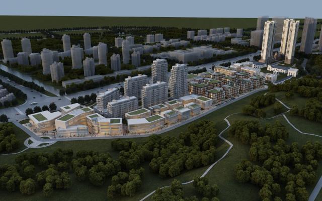 現代規劃鳥瞰建筑3D模型【ID:245993075】