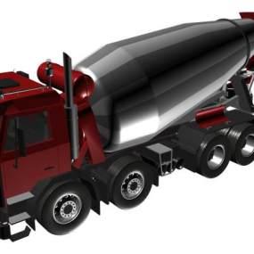 现代水泥罐车红色3D模型【ID:432497727】