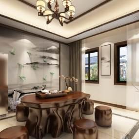 新中式茶室3D模型【ID:632716158】