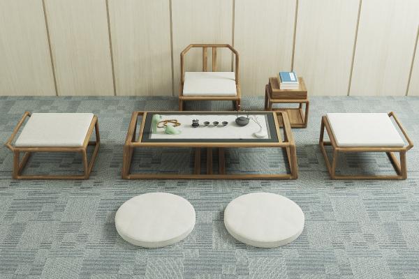 日式茶幾椅3D模型【ID:631065879】