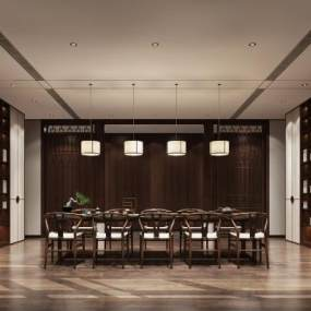 新中式茶室3D模型【ID:644238103】