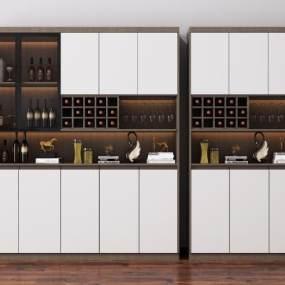 现代酒柜装饰柜3D模型【ID:648353234】