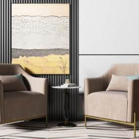 新中式沙发椅 3D模型【ID:642376464】