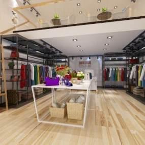 工业风服装店3D模型【ID:135831019】