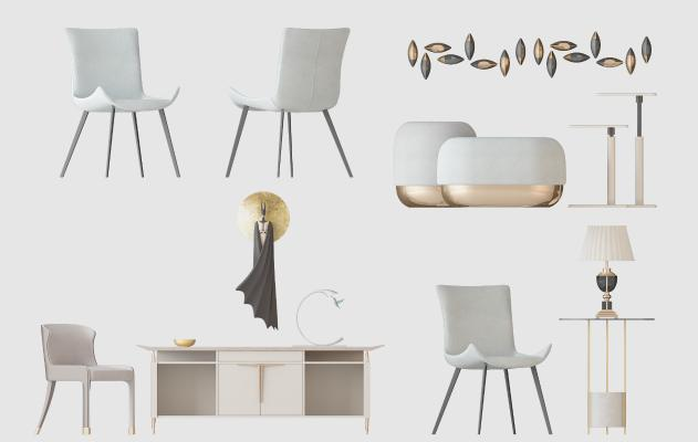 北欧椅子沙发墩电视柜挂饰边几3D模型【ID:741861063】