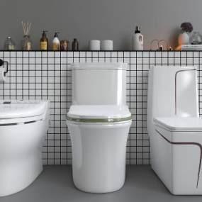 現代坐便器衛浴用品組合3D模型【ID:252066131】