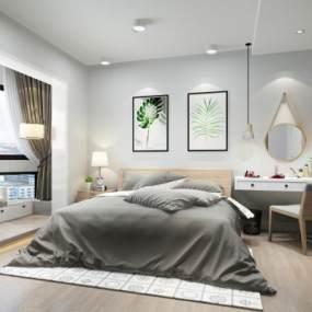 北欧卧室3D模型【ID:534701252】
