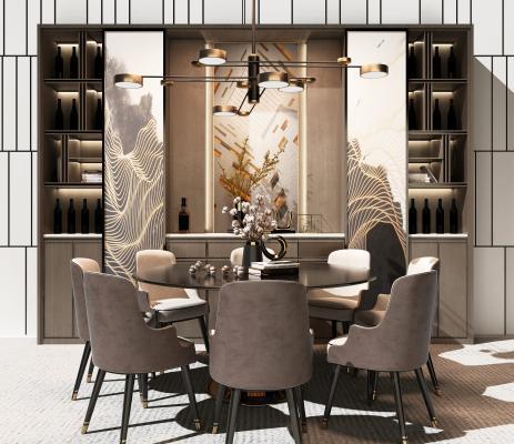 現代餐桌酒柜組合3D模型【ID:747463123】