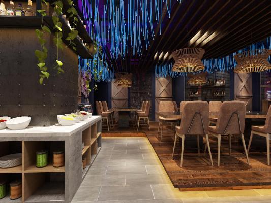 新中式火鍋店餐廳3D模型【ID:646720575】