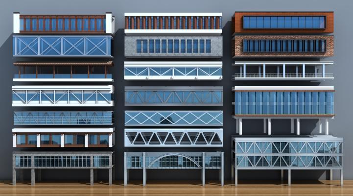 现代玻璃连廊人行天桥通道建筑3D模型【ID:140625985】