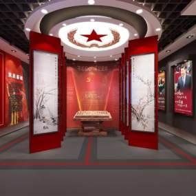 現代黨建政府公安紅色革命展廳3D模型【ID:946882788】