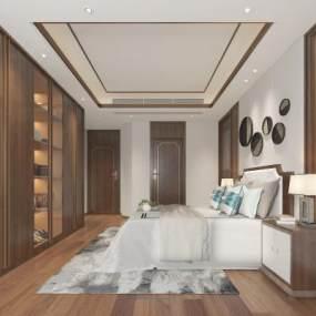 新中式卧室3D模型【ID:548786281】