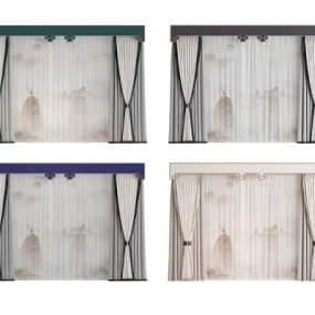 新中式窗帘3D模型【ID:245532654】