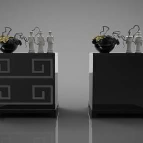 新中式床头柜子3D模型【ID:141976869】