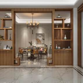 新中式餐厅3D模型【ID:533194173】