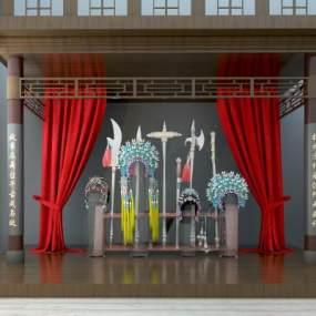 中式舞台戏台戏服3D模型【ID:230589501】