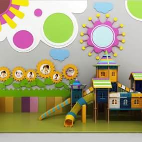 现代幼儿园游乐区背景墙3D模型【ID:831314703】