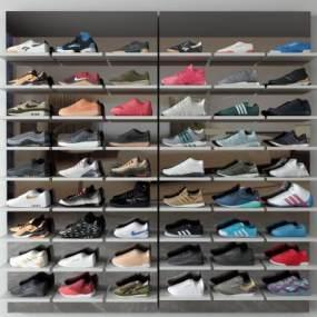 現代鞋架鞋子3D模型【ID:346885698】