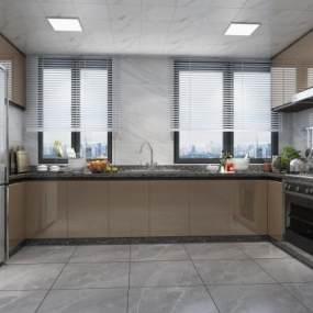 現代廚房3D模型【ID:550646391】