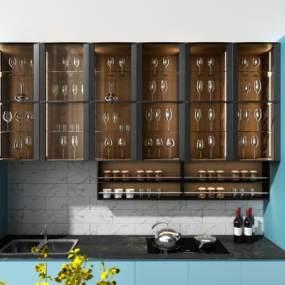 现代橱柜酒柜电器柜组合现代橱柜3D模型【ID:133310756】