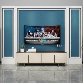 现代电视背景墙3D模型【ID:936005983】